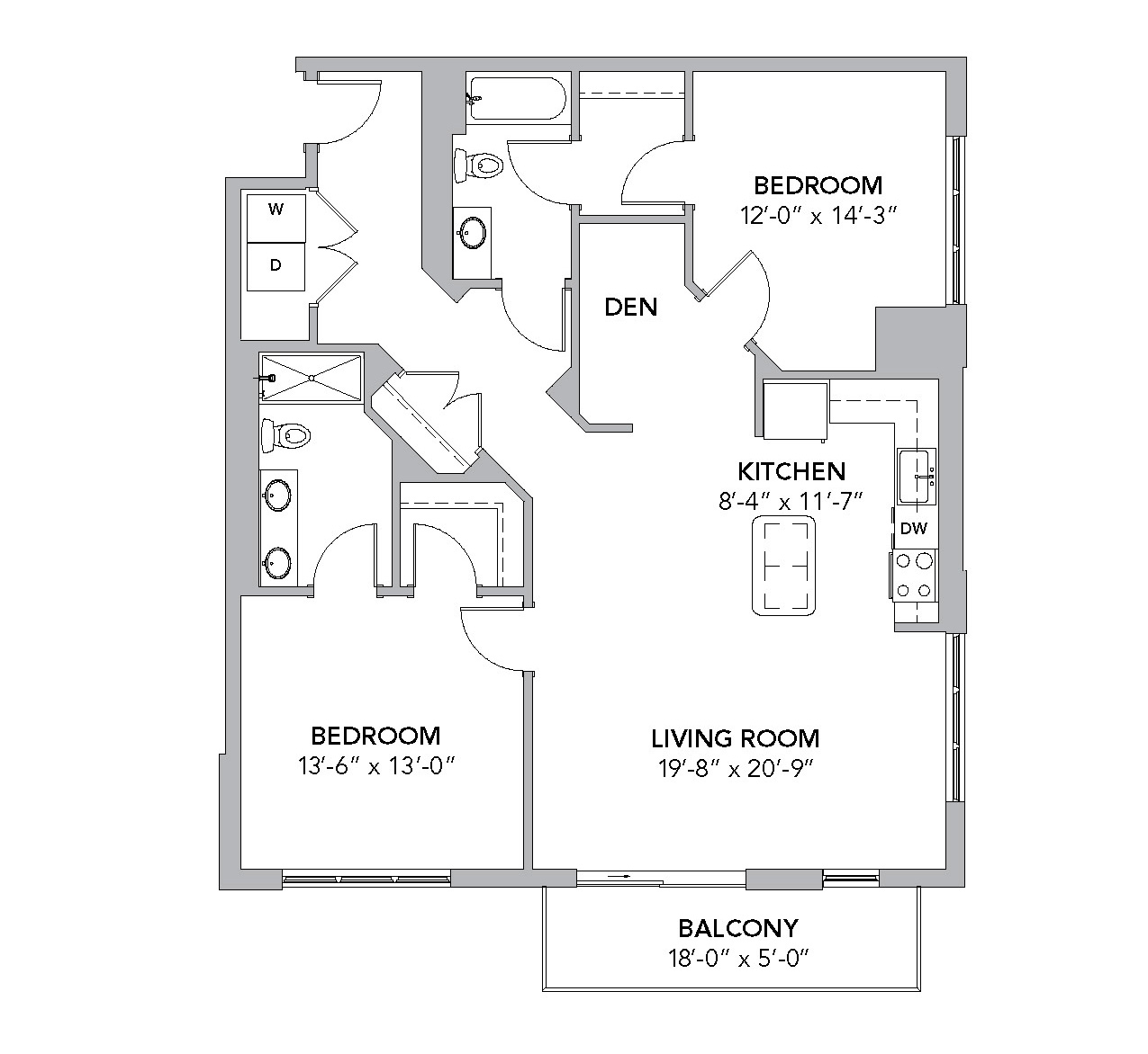 Sycamore: Two Bedroom with an Alcove Den at Tamarisk NorthShore